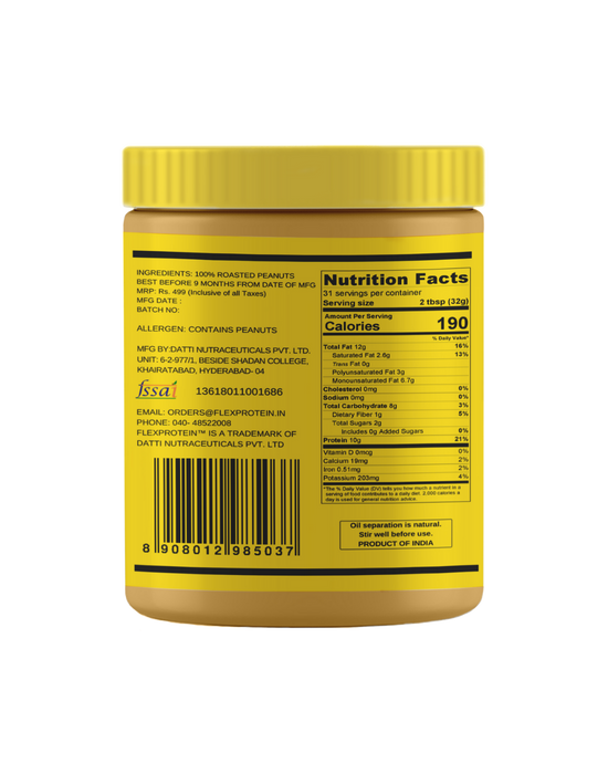 Flex Protein 100% Natural Peanut Butter Crunchy - NutraC - Health & Nutrition Store