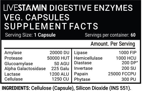 Livestamin Digestive Enzymes 60 Capsules - NutraC - Health & Nutrition Store