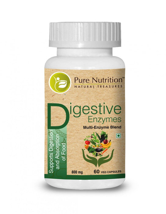 Pure Nutrition Digestive Enzymes - Multi-Enzyme Blend 800mg - 60 Veg Caps - NutraC - Health & Nutrition Store