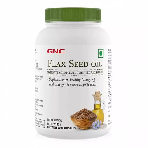 GNC Flax Seed Oil Capsules - Contains Both Omega 3 And Omega 6 Fatty Acids - 180 Soft Vegetable Capsules