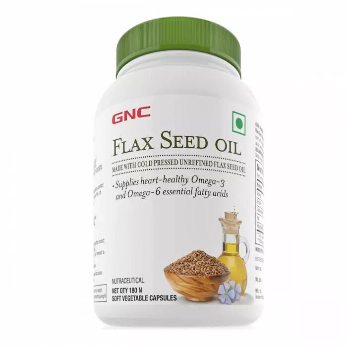GNC Flax Seed Oil Capsules - Contains Both Omega 3 And Omega 6 Fatty Acids - 180 Soft Vegetable Capsules - NutraC - Health & Nutrition Store