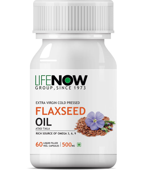 Lifenow Flaxseed Oil Omega 3 6 9 Fatty Acid Supplement - Extra Virgin Cold Pressed 500 mg - 60 Capsules - NutraC - Health & Nutrition Store