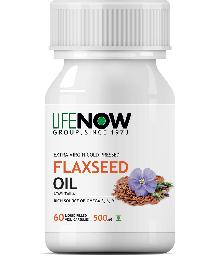 Lifenow Flaxseed Oil Omega 3 6 9 Fatty Acid Supplement - Extra Virgin Cold Pressed 500 mg - 60 Capsules