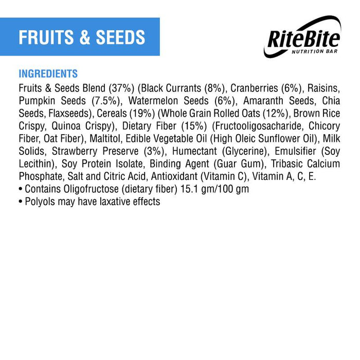 RiteBite Fruit & Seeds Bar 35g - Pack of 1 - NutraC - Health & Nutrition Store