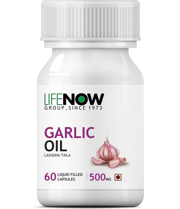 Lifenow  Natural Garlic Oil, 60 Capsules For Heart,Cholesterol and Weight Loss- 60 Liquid Filled Capsules