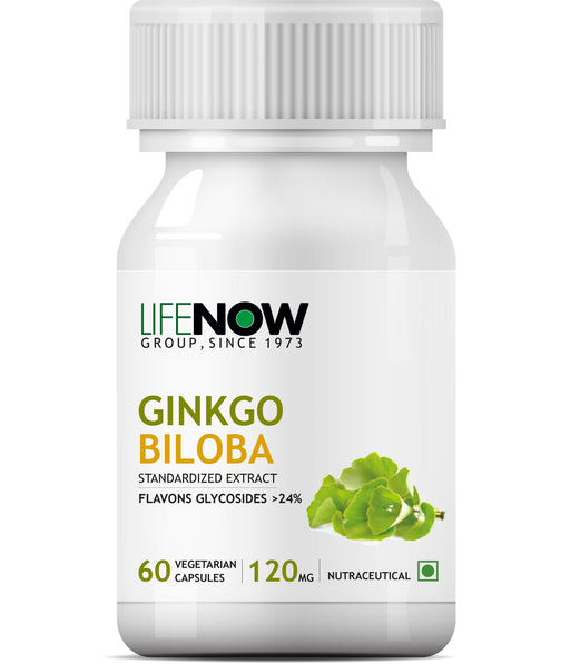 Lifenow Ginkgo Biloba Extract (Flavons Glycosides > 24%) 120mg (60 Vegetarian Capsules) for Healthy Brain Function