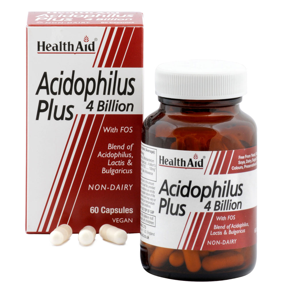 HealthAid Acidophilus Plus 4 Billion-60 Capsules - NutraC - Health & Nutrition Store
