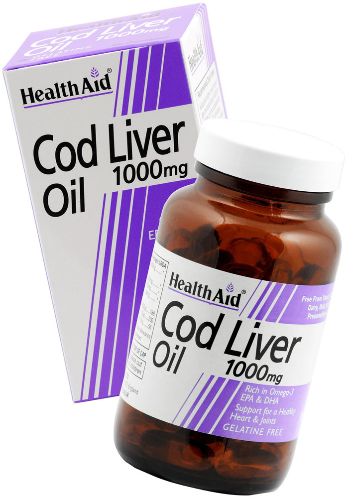 HealthAid Cod Liver Oil 1000mg -60 Capsules - NutraC - Health & Nutrition Store