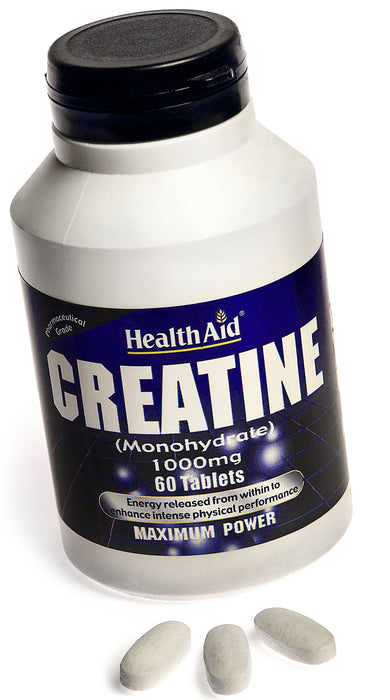 HealthAid Creatine (Monohydrate) 1000mg -60 Tablets - NutraC - Health & Nutrition Store