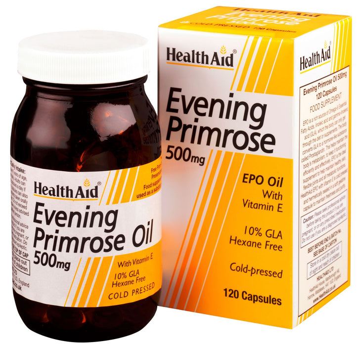 HealthAid Evening Primrose Oil 500mg With Vitamin E -120 Capsules - NutraC - Health & Nutrition Store