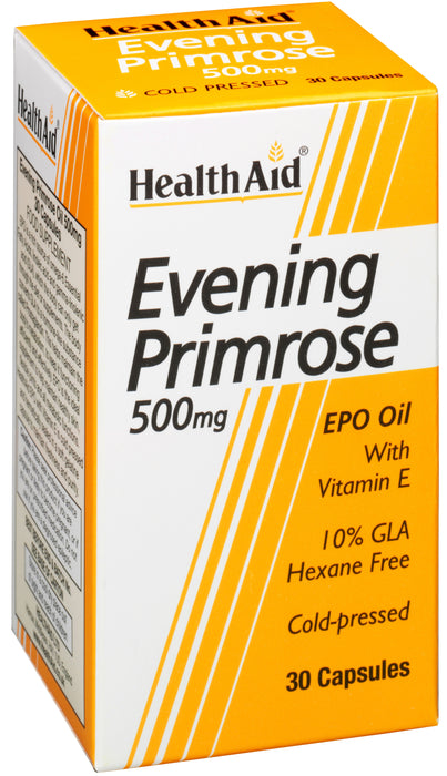 HealthAid Evening Primrose Oil 500mg With Vitamin E -30 Capsules - NutraC - Health & Nutrition Store