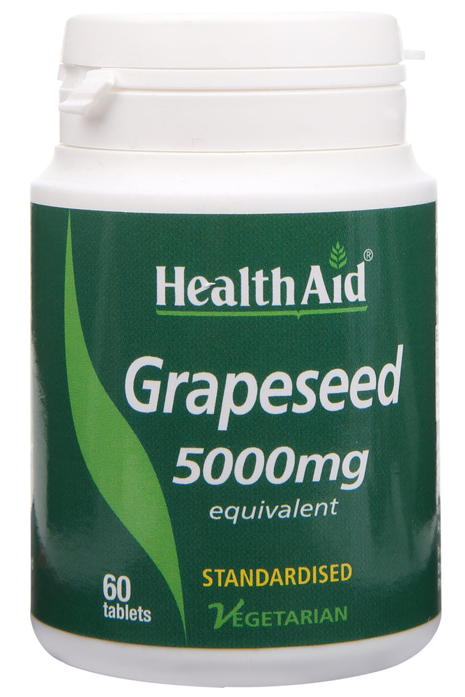 HealthAid Grapeseed Extract 5000mg (Equivalent) -60 Tablets - NutraC - Health & Nutrition Store
