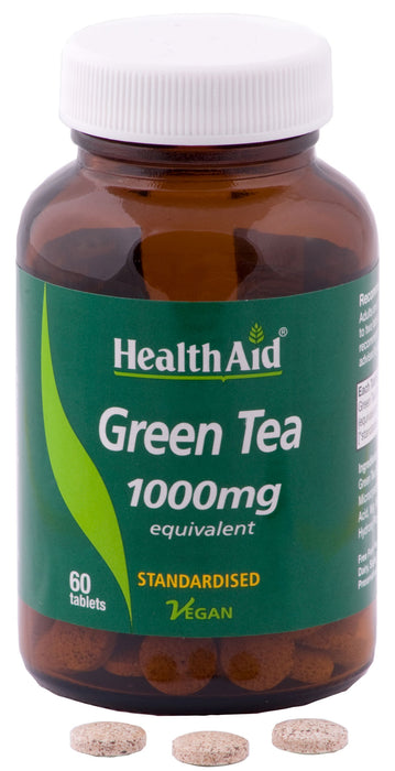 HealthAid Green Tea Extract 1000mg (Equivalent) -60 Tablets - NutraC - Health & Nutrition Store