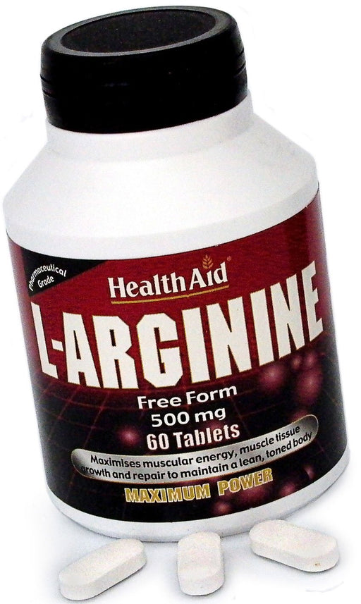 HealthAid L-Arginine 500mg (Free Form) -60 Tablets - NutraC - Health & Nutrition Store
