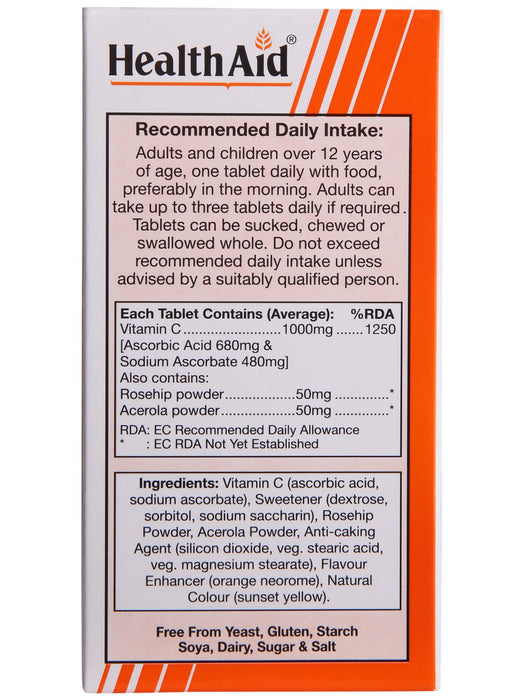 HealthAid Vitamin C 1000mg (Chewable) (Orange Flavour)-60 Tablets - NutraC - Health & Nutrition Store