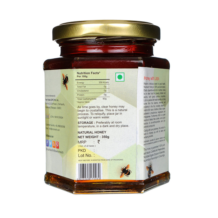 NUTRIWISH 100% Pure Honey - Infused With Litchi 350g