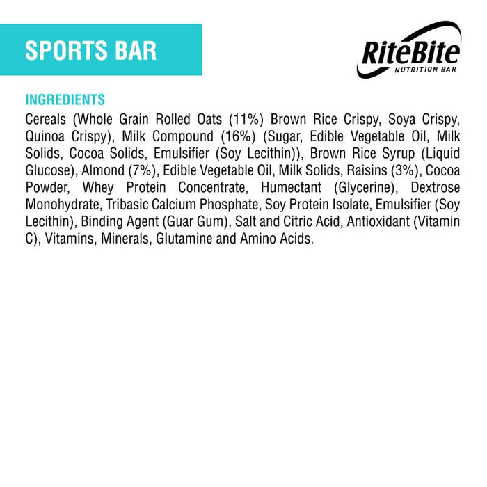 RiteBite Sports Bar 40g - Pack of 1 - NutraC - Health & Nutrition Store