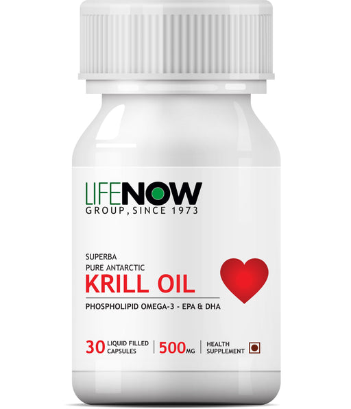 LIFENOW  Krill Oil Phospholipid Omega 3 with Astaxanthin 500mg - 30 Capsules - NutraC - Health & Nutrition Store