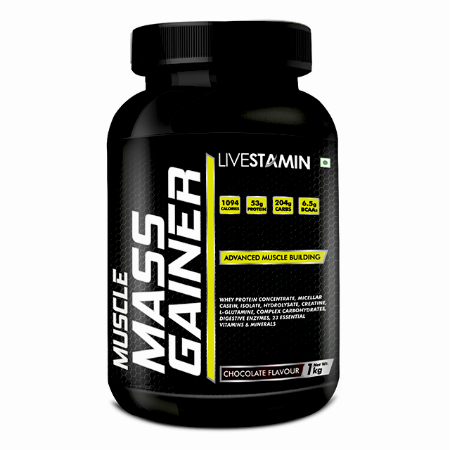 Livestamin Mass Gainer Chocolate Flavour 1 Kg - NutraC - Health & Nutrition Store