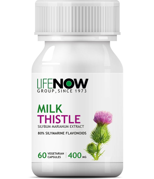 Lifenow Milk Thistle (80% Silymarin) 400mg (60 Vegetarian Capsules) Liver Cleanse Detox Support Supplement