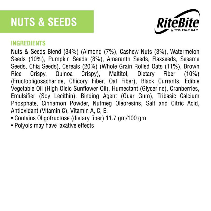RiteBite Nuts & Seeds Bar 35g - Pack of 1 - NutraC - Health & Nutrition Store