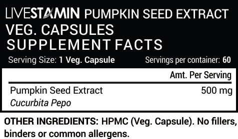 Livestamin Pumpkin Seed Extract 60 Capsules - NutraC - Health & Nutrition Store