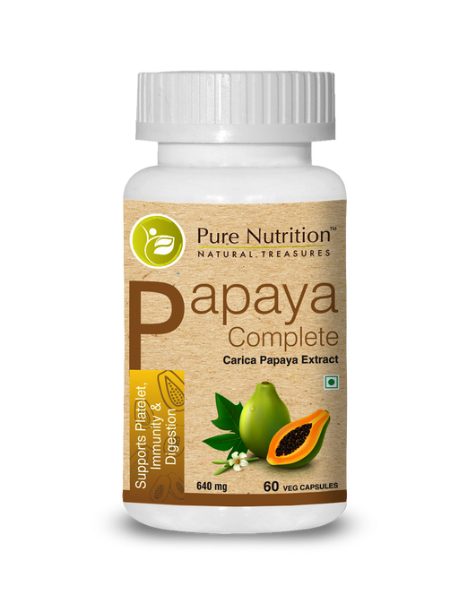 Pure Nutrition Papaya Complete (Supports Platelet Immunity & Digestion) - 60 Capsules - NutraC - Health & Nutrition Store