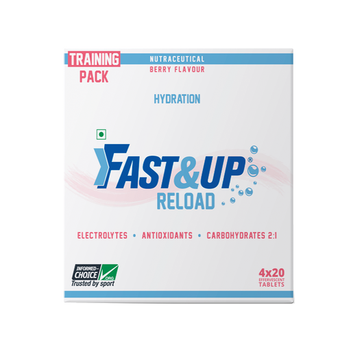 Fast&Up Reload Electrolytes Energy Drink and Instant Hydration Sports Drink - 80 Effervescent Tablets - Berry Flavour - NutraC - Health & Nutrition Store