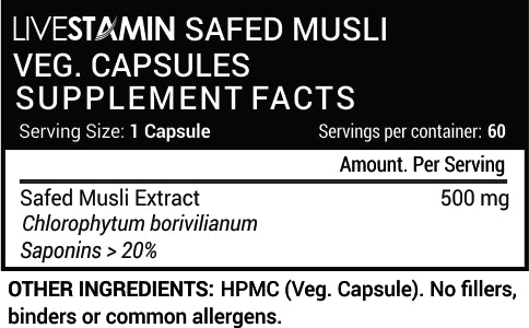 Livestamin Safed Musli 60 Capsules - NutraC - Health & Nutrition Store