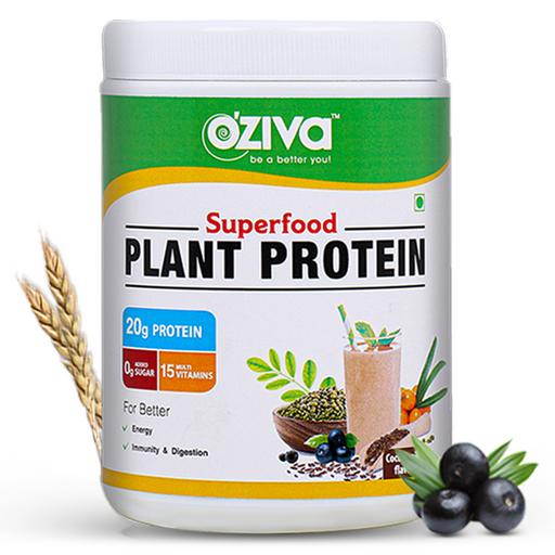 OZiva Superfood Plant Protein with Ayurvedic Herbs & Multivitamins for boosting Immunity & Energy, Soy Free - NutraC - Health & Nutrition Store