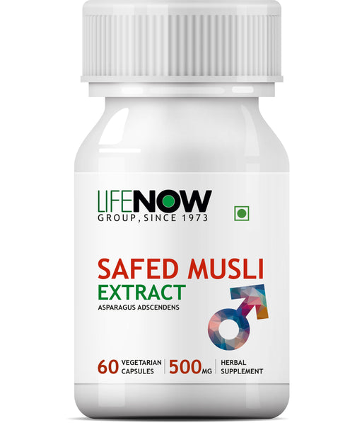 Lifenow Safed Musli Extract, 500mg (60 Vegetarian Capsules) For Strength and Stamina - NutraC - Health & Nutrition Store
