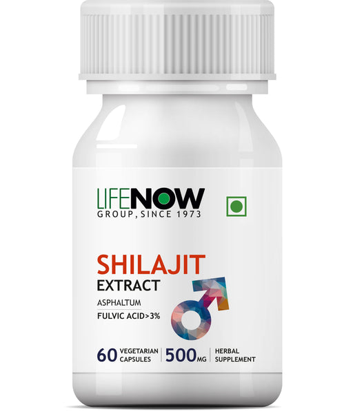 Lifenow Shilajit Extract (Fulvic Acid > 3%) 500mg (60 Vegetarian Capsules) For Stamina and Vitality