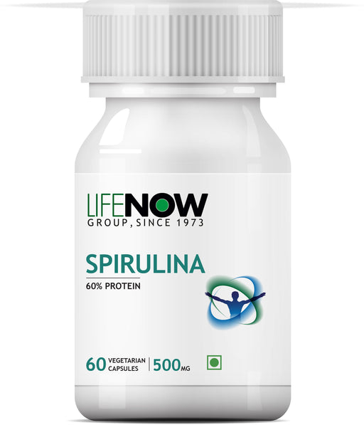 Lifenow Spirulina 500mg, 60 Vegetarian Capsules, Green Super Food For Digestion