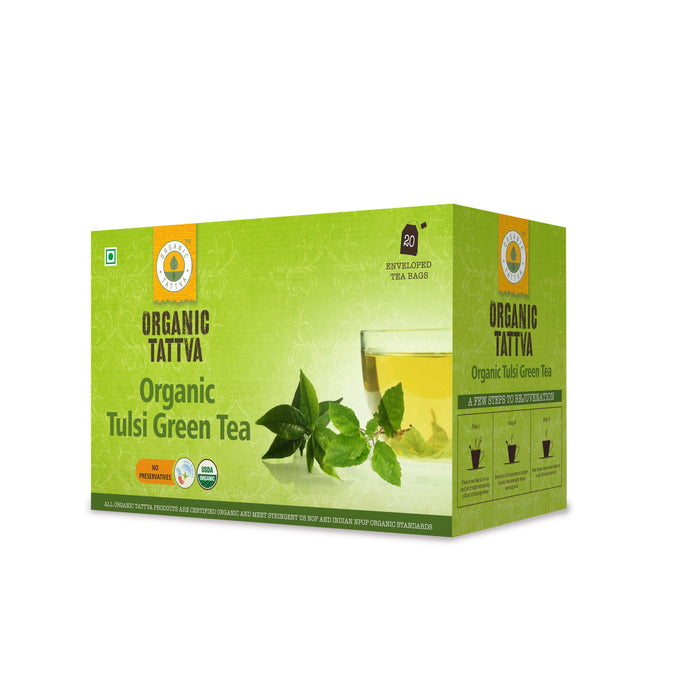 Organic Tattva Tulsi Green Tea (20 teabags) - NutraC - Health & Nutrition Store