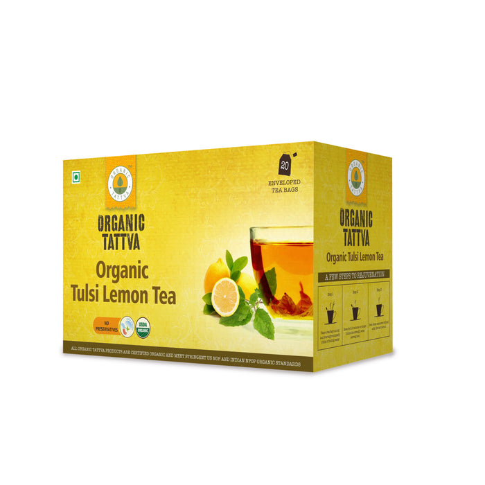 Organic Tattva Tulsi Lemon Tea (20 teabags) - NutraC - Health & Nutrition Store