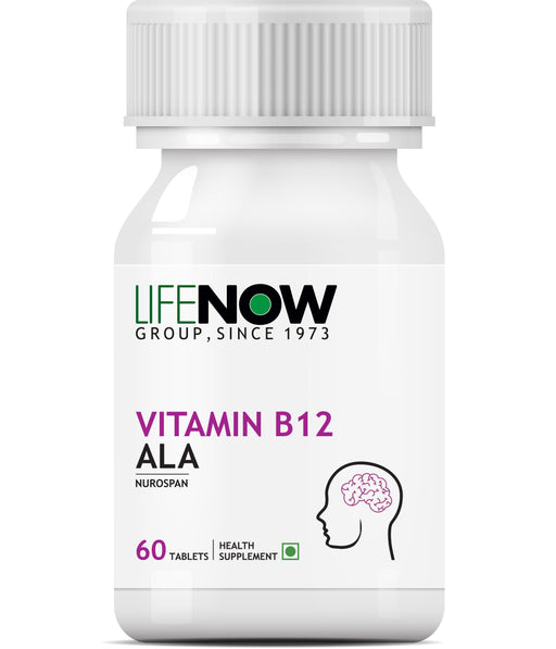 Lifenow Vitamin B12 (Methylcobalamin) Ala & Folic Acid Supplements 1500 Mcg - 60 Tablets