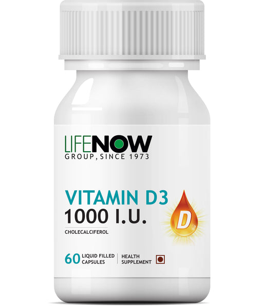 Lifenow Vitamin D3 Cholecalciferol Supplement for Men Women 1000 IU - 60 Liquid Filled Capsules - NutraC - Health & Nutrition Store