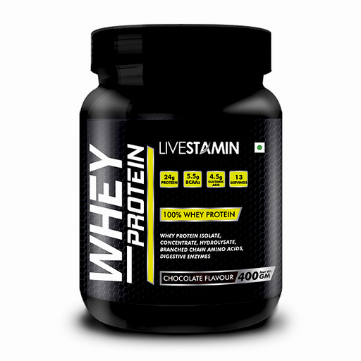 Livestamin Whey Protein Chocolate 400 Grams - NutraC - Health & Nutrition Store