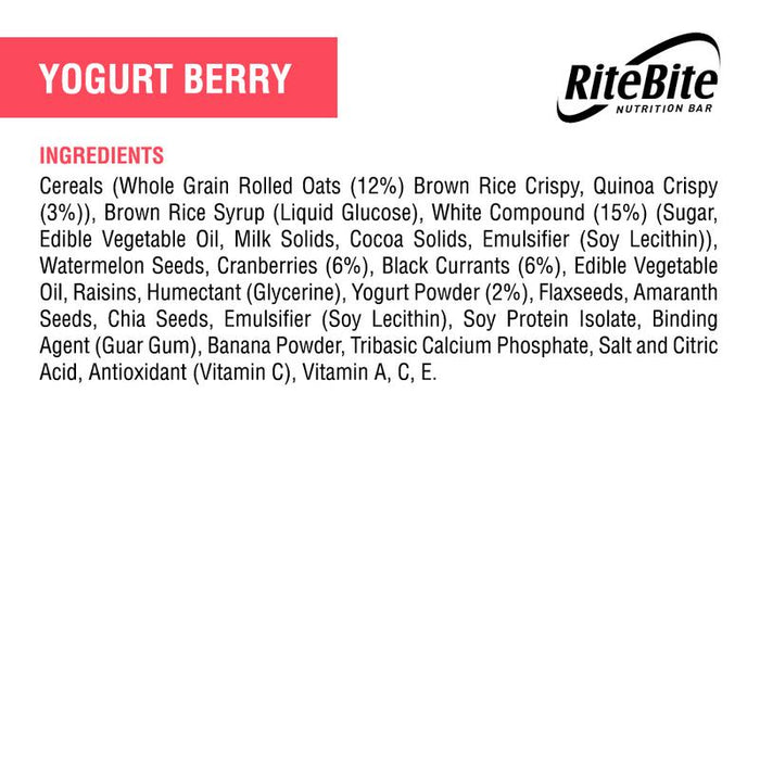 RiteBite Yoghurt Berry Bar 35g - Pack of 1 - NutraC - Health & Nutrition Store