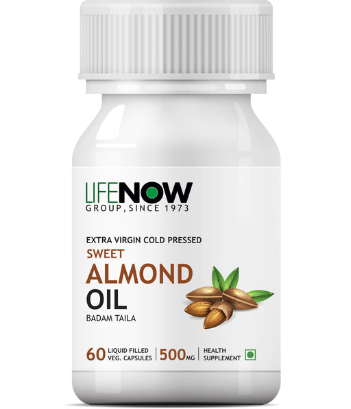 Lifenow Sweet Almond Extra Virgin Cold Pressed Oil, 60 Vegetarian Capsules