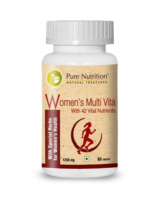Pure Nutrition Women's Multi Vitamin with 42 Vital Nutrients - 1250mg - 60 Veg Tablets - NutraC - Health & Nutrition Store