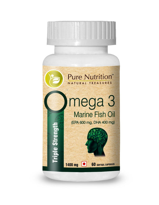 Pure Nutrition Omega 3 Triple Strength Fish Oil - 1400mg - 60 Days Supply