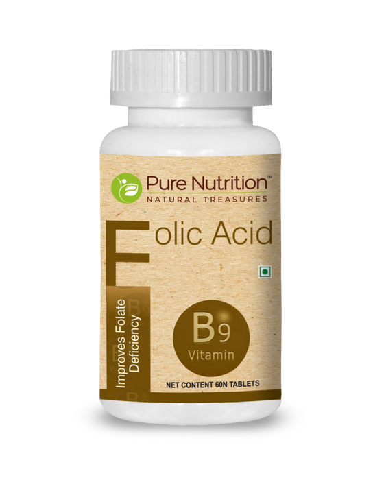 Pure Nutrition Folic Acid - Vitamin B9 - 60 TAB - NutraC - Health & Nutrition Store