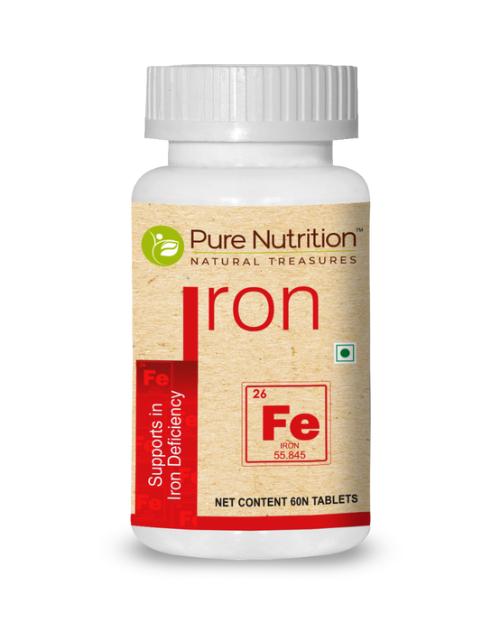 Pure Nutrition Iron 60 Tablets - NutraC - Health & Nutrition Store
