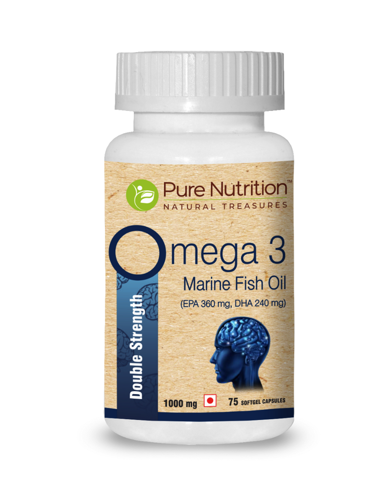 Pure Nutrition Omega 3 Double Strength Marine Fish Oil - 1000mg; with 360 mg EPA & 240 mg DHA for brain; heart and eye health - 75 Softgel Capsules - NutraC - Health & Nutrition Store