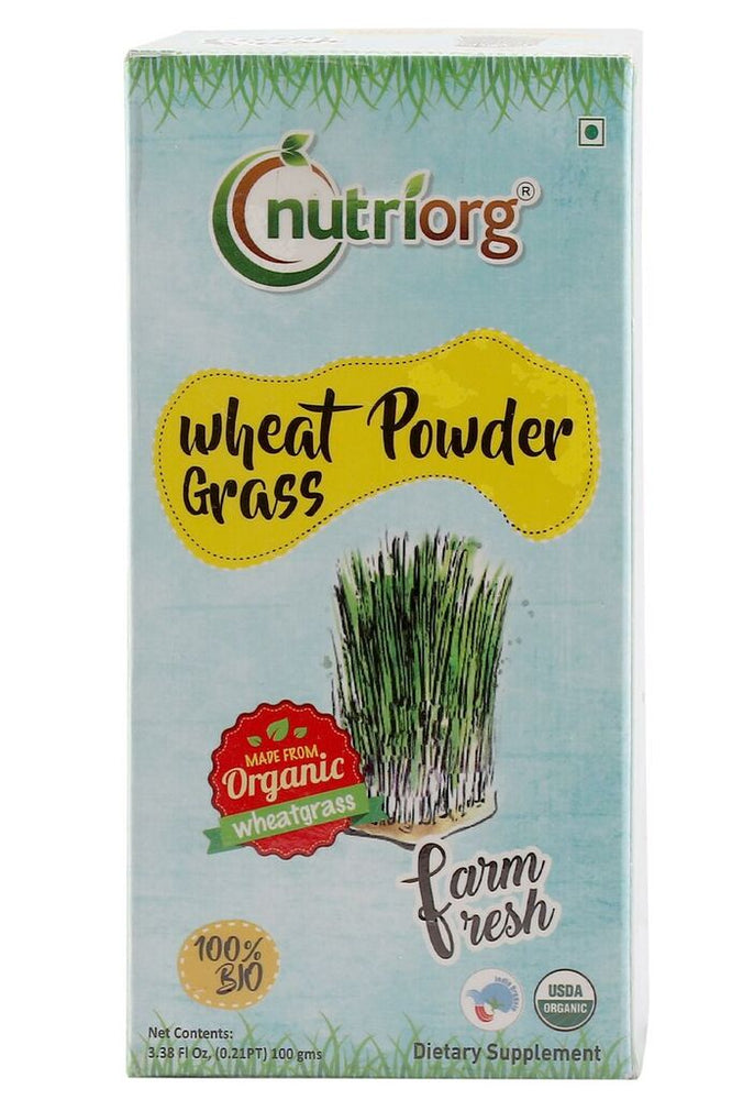 Nutriorg Certified organic Wheatgrass powder 100gm - NutraC - Health & Nutrition Store