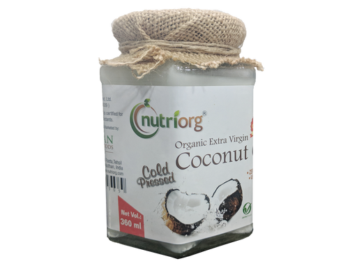 Nutriorg Certified organic Extra virgin Coconut Oil 360ml - NutraC - Health & Nutrition Store