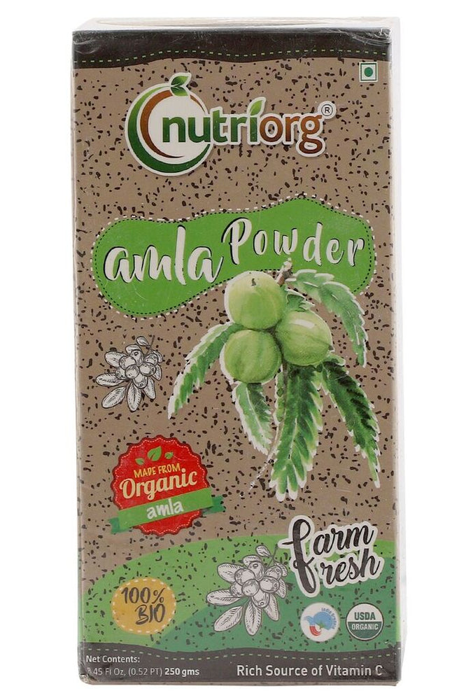 Nutriorg Certified Organic Amla Powder Without seeds 250gms - NutraC - Health & Nutrition Store