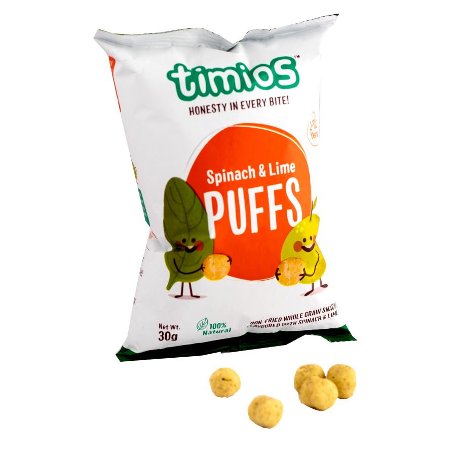 Timios Spinach and lime Puffs 50 gm -Pack of 3 (50g x 3) - NutraC - Health & Nutrition Store