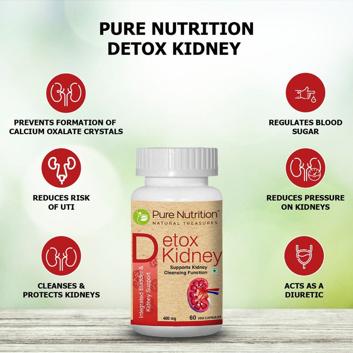 Pure Nutrition Detox Kidney ( Detoxification; Integrated Bladder & Kidney Support ) 60 veg capsules - NutraC - Health & Nutrition Store